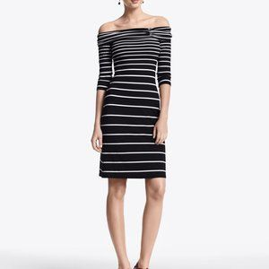 WHBM Sexy Striped Off The Shoulder Bodycon Dress